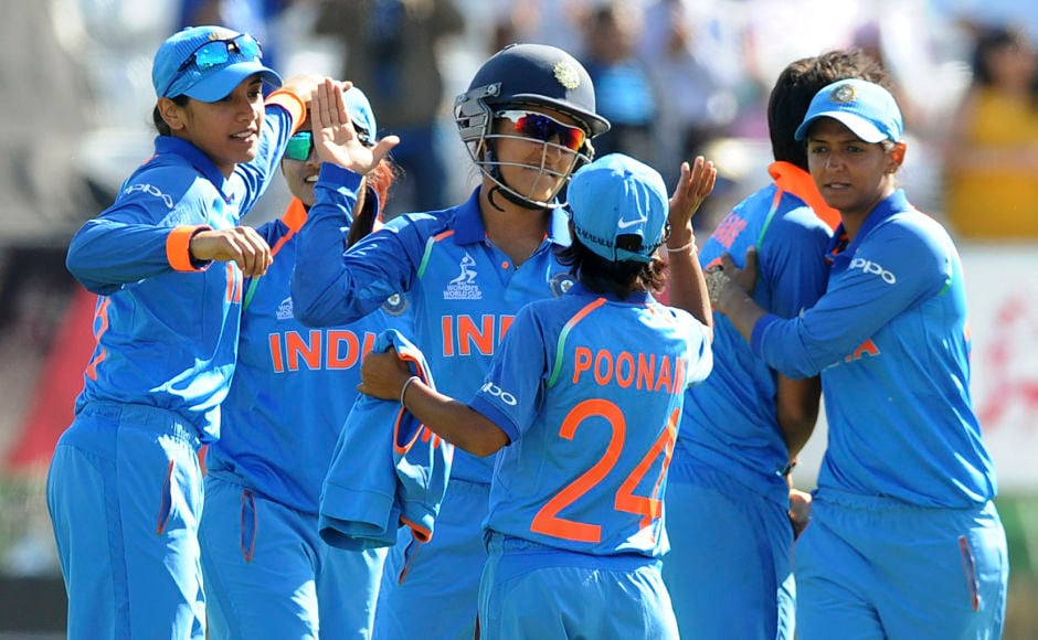 Indian cricketers celebrate after winning their ICC Women's World Cup 2017 match against Pakistan. India has beaten Pakistan in all their ODI encounters. AP