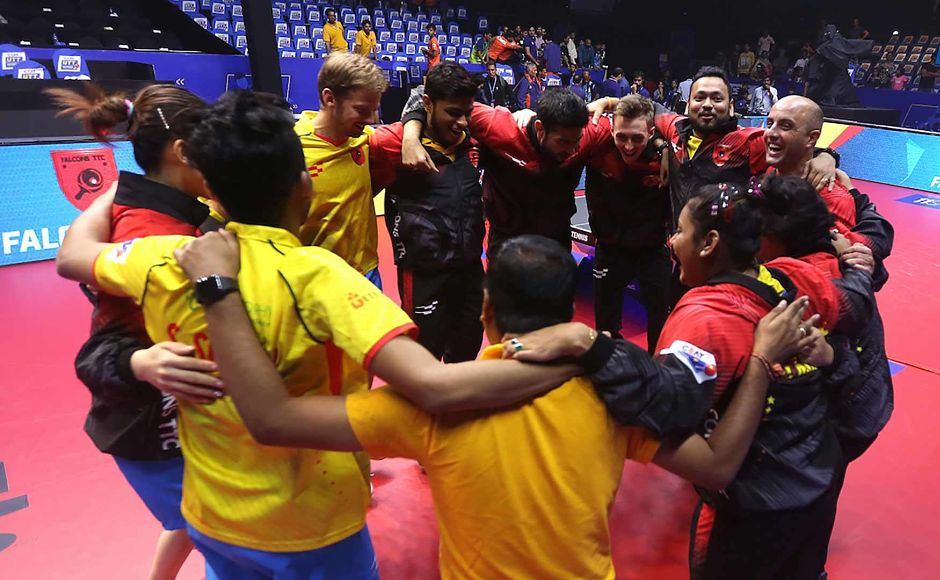 Falcons TTC will meet the winner of the second semi-final, to be played between Shaze Challengers and Dabang Smashers, in the summit clash on Sunday. Image Courtesy: Facebook/Ultimate Table Tennis