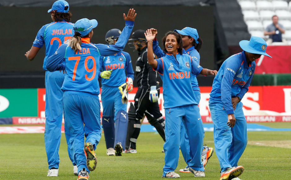 Poonam Yadav celebrates the wicket of Maddy Green. Reuters