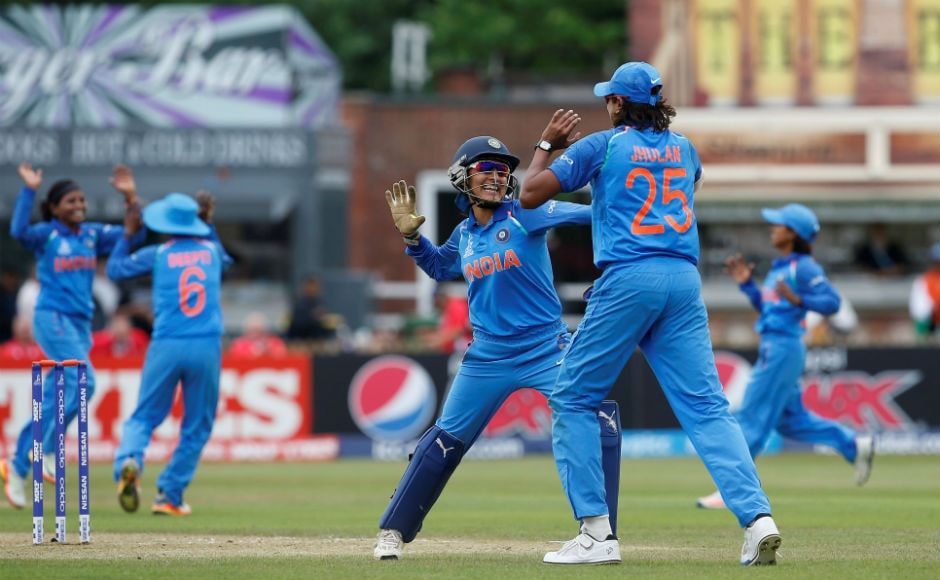 The Indian cricket team pummeled New Zealand by 186 runs in a must-win game in the Women's World Cup on Saturday to saunter into the semi-final.