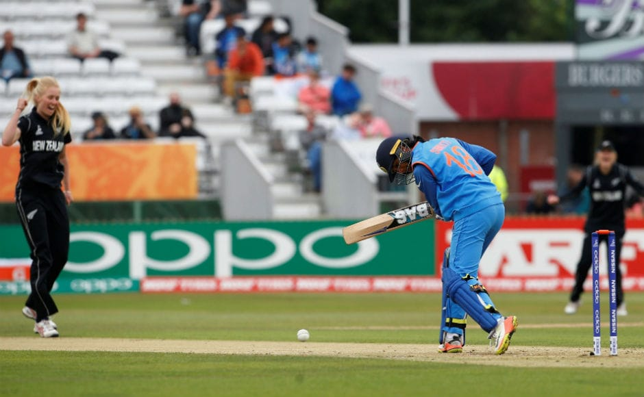 India did not start well as they were two-down in the eighth over. Smriti Mandhana downturn in form continued as she was clean bowled by Hannah Rowe. Reuters