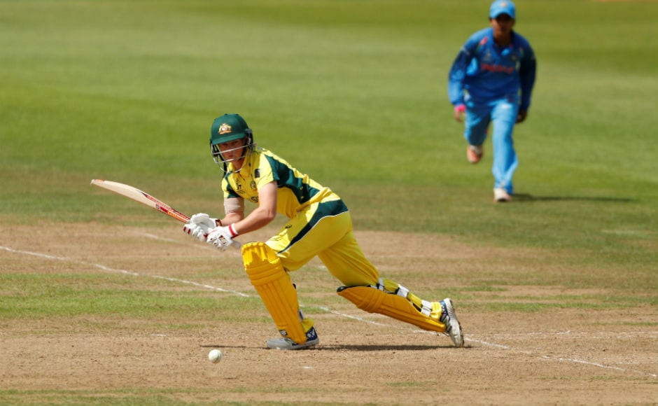 Australia's Meg Lanning in action against India in a group match. Lanning scored an attractive 76 not out to power Australia to a win. Reuters