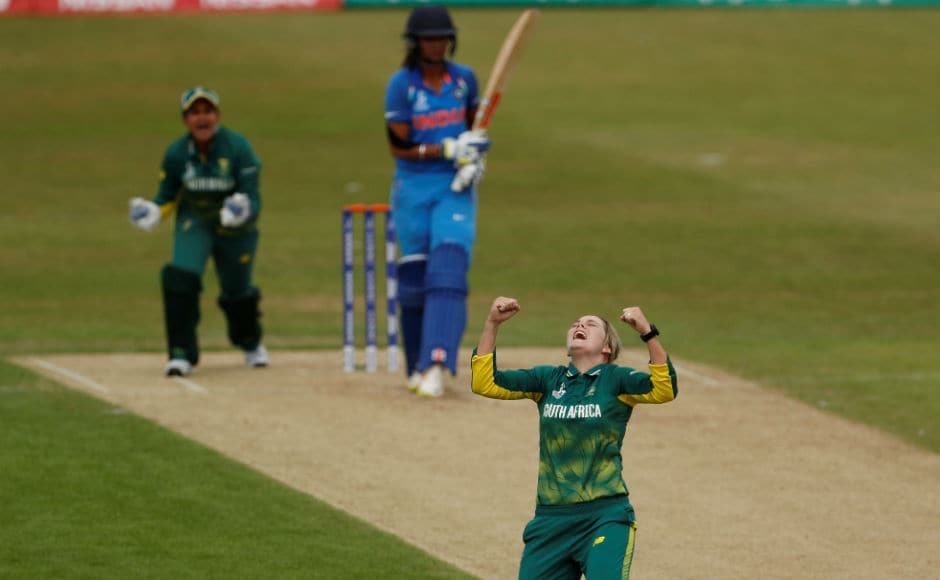 South Africa's Dane van Niekerk celebrates taking the wicket of India's Harmanpreet Kaur in a group match. India suffered a massive 115-run defeat to the Proteas. Reuters