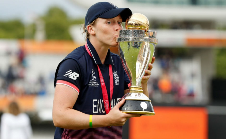 England captain Heather Knight kisses the Women's World Cup. England took advantage of a collapse by India to win the final. Reuters