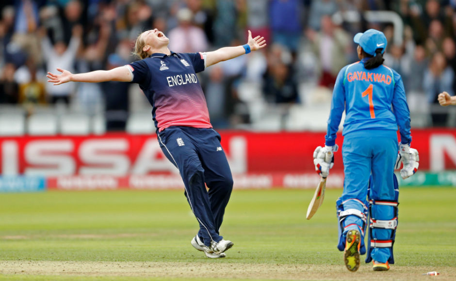 England's Anya Shrubsole celebrates the wicket of India's Rajeshwari Gayakwad in the the final of the Women's World Cup at the Lord's. Gayakwad was the last to fall in, which allowed England to win their fourth world title. Reuters