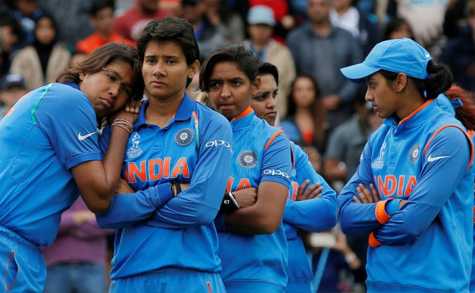 Jhulan Goswami (L) and her teammates look dejected after falling at the last hurdle, though they certainly made the country proud with their performance in the tournament. Reuters