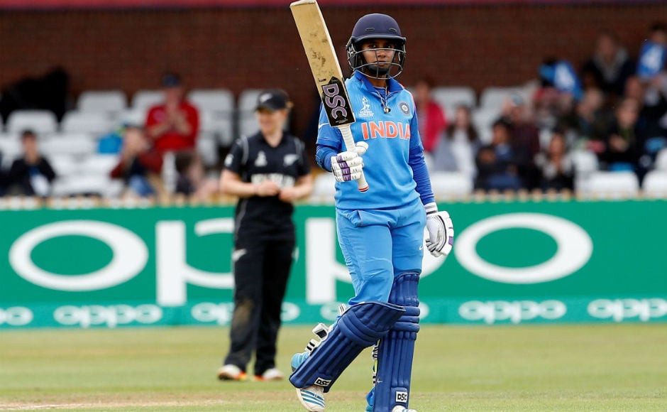 Indian captain Mithali Raj in action in a virtual knockout game against New Zealand. Raj fashioned India's win in that match with a sublime 109 and took India to the semis. Reuters