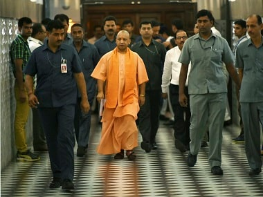 Yogi Adityanath arrives in the Assembly. PTI