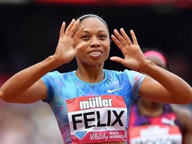 US athlete Allyson Felix celebrates after winning the women's 400m during the IAAF Diamond League Anniversary Games athletics meeting at the Queen Elizabeth Olympic Park stadium in Stratford, east London on July 9, 2017. / AFP PHOTO / Ben STANSALL