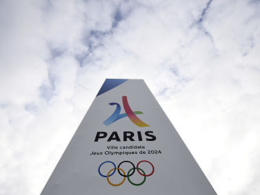 (FILES) This file photo taken on May 15, 2017 shows the entrance of the Paris-Le Bourget Exhibition venue in Le Bourget as the IOC Evaluation Commission continues with its visit to Paris, before a vote for the 2024 Summer Olympics. Los Angeles has agreed terms with Olympic officials on a deal that will bring the Summer Games to Southern California in 2028 instead of 2024, city officials told AFP on July 31, 2017. The agreement opens the door for Paris, Los Angeles' only rival in bidding for 2024, to host the Games in seven years. The deal also will bring the Summer Olympics to Los Angeles for a third time, after the city staged the games in 1984 and 1932. / AFP PHOTO / FRANCK FIFE