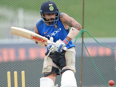 Virat Kohli hits a ball during a practice session at the Sinhalease Sports Club Ground in Colombo. AFP