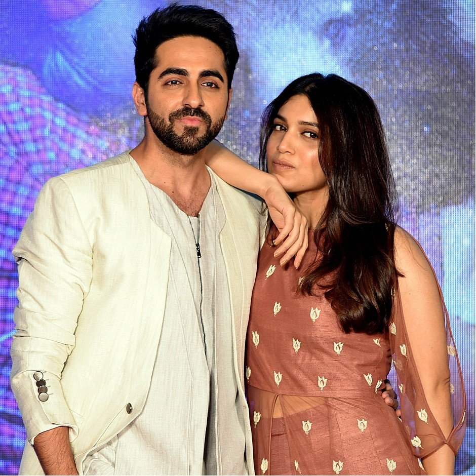 Ayushmann Khurrana and Bhumi Pednekar pose for a photograph during a promotional event for the forthcoming Hindi film 'Shubh Mangal Saavdhan' directed by RS Prasanna in Mumbai on 1 August, 2017, / AFP PHOTO / STR
