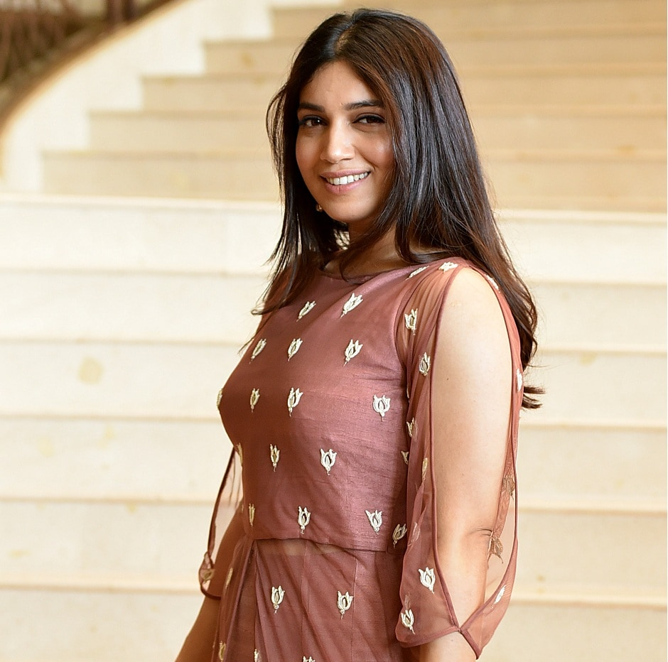 Bhumi Pednekar poses for a photograph during a promotional event for the forthcoming Hindi film 'Shubh Mangal Saavdhan' directed by RS Prasanna in Mumbai on 1 August, 2017, / AFP PHOTO / STR