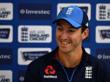 Toby Roland-Jones speaks at a press conference at Old Trafford ahead of the fourth Test match against South Africa. AFP