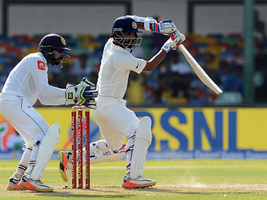 Ajinkya Rahane plays a shot during the first day of the second Test against Sri Lanka. AFP