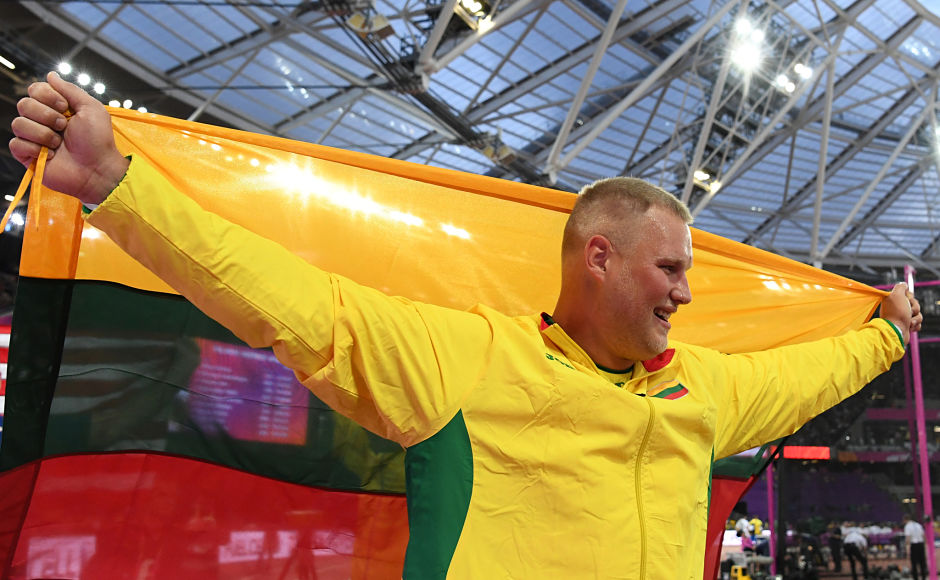 Gold medal winner Lithuania's Andrius Gudžius poses after the final of the men's discus throw athletics event at the 2017 IAAF World Championships at the London Stadium. AFP