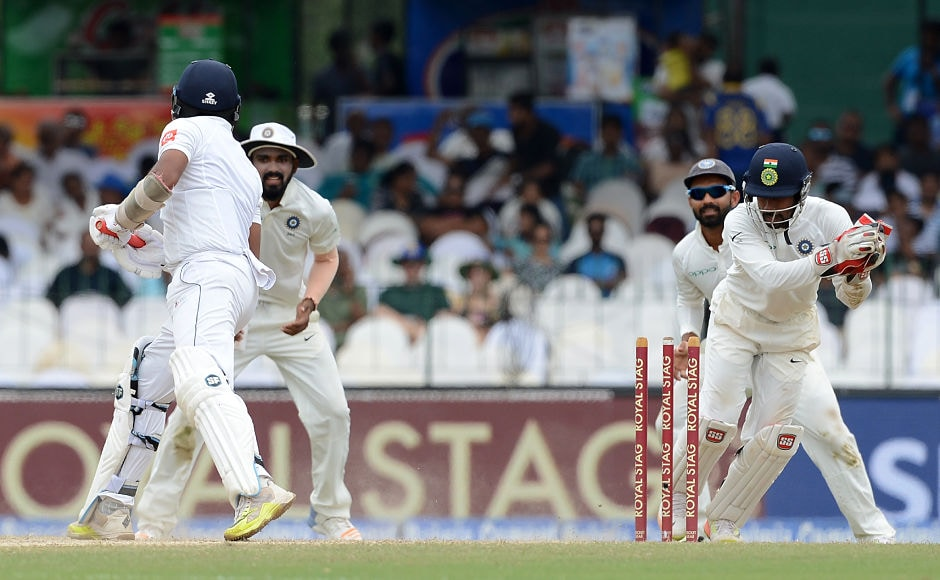 Wriddhiman Saha continued his splendid time behind the stumps with a relatively easy stumping of Dilruwan Perera. AFP