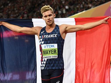 France's Kevin Mayer celebrates winning the overall competition after the men's decathlon 1500m athletics event, the final event in the decathlon, at the 2017 IAAF World Championships at the London Stadium in London on August 12, 2017. / AFP PHOTO / Jewel SAMAD
