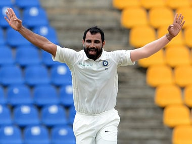 Mohammed Shami celebrates after he dismissed Kusal Mendis during the third day of the third and final Test against Sri Lanka. AFP