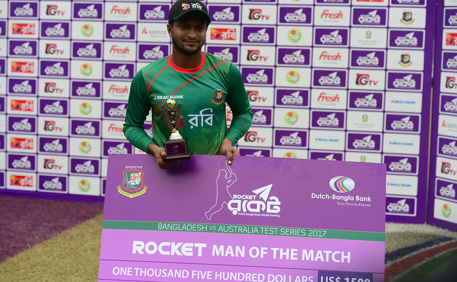 The world no.1 all rounder, Shakib Al Hasan, lived up to his billing as he scored 84-runs in the first innings and bagged a 10-wicket haul in the Testto be crowned as Man of the Match. AFP