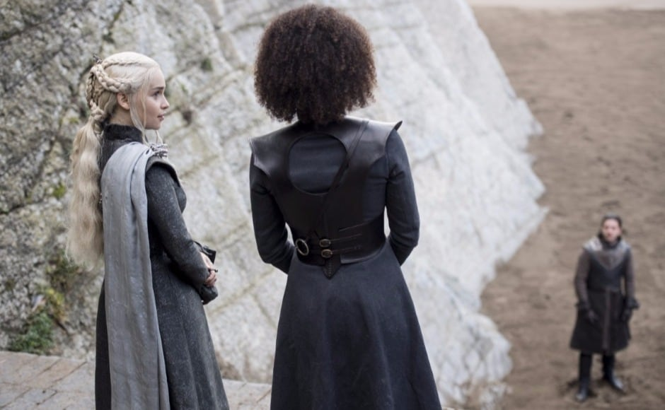 Game of Thrones Season 7 Episode 3 finally saw the long-awaited meeting between Daenerys Targaryen and Jon Snow. And sparks flew! Image courtesy HBO
