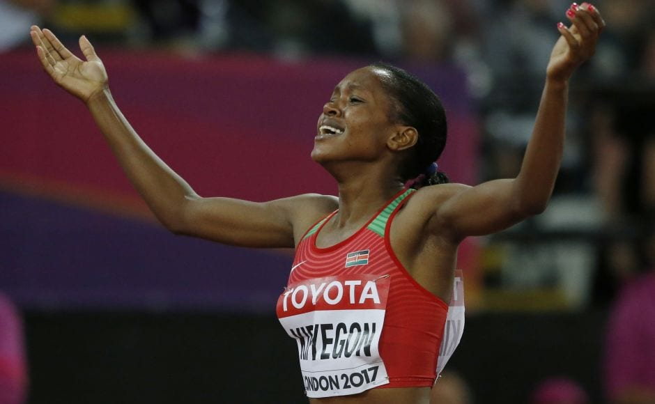 Faith Kipyegon of Kenya added the world title to her Olympic gold medal in the 1,500 metres on Day 4 of IAAF World Athletics Championships 2017 in London. AP