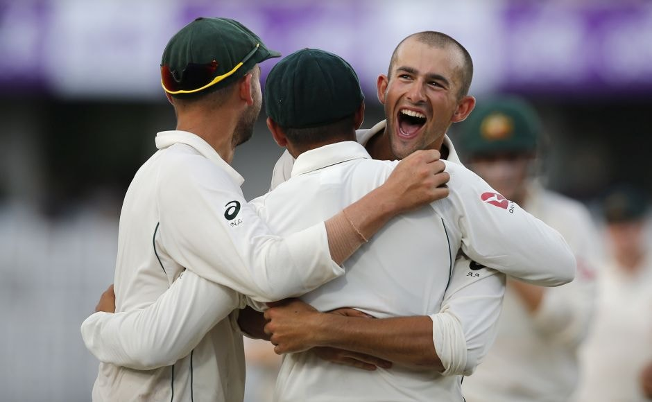 Trailing by 43 runs in its first innings, Australia got the lone success in the penultimate over of day two when left arm spinner Ashton Agar dismissed Soumya Sarkar for 15. AP