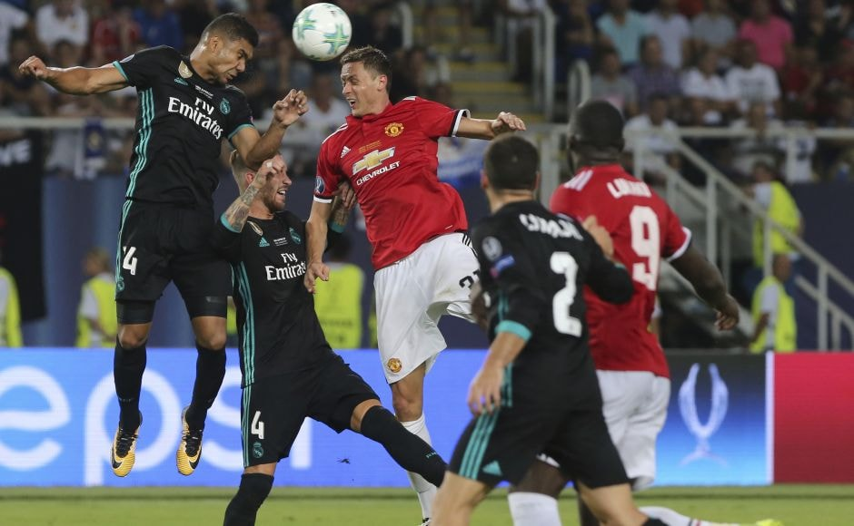Real Madrid's Casemiro tested the Manchester United defense but could initially only hit the bar with a header and fire a shot over the top. AP