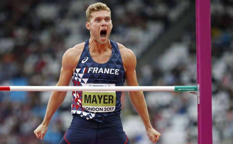 Kevin Mayer extended his lead in the decathlon with a strong showing in high jump. AP