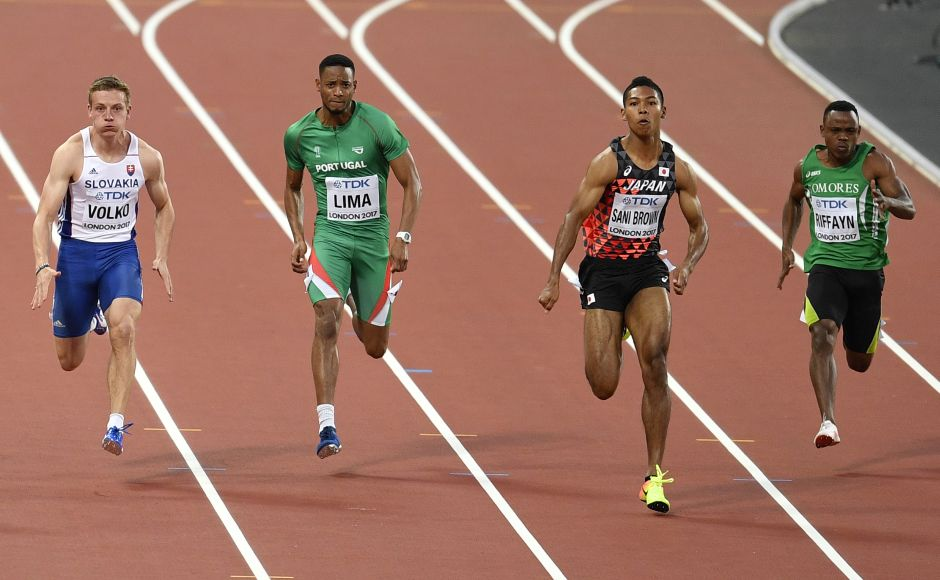 Japan's Abdul Hakim Sani Brown leads the field during his heat of the Men's 100 meters during the World Athletics Championships in London. He won the heat with a personal best timing of 10.05. AP