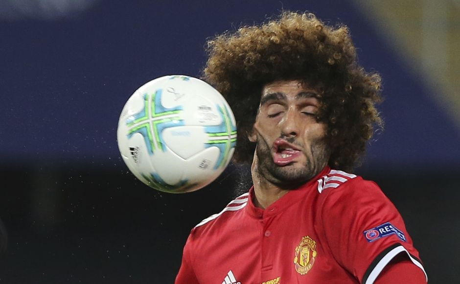 Manchester United's Marouane Fellaini's distorted face beside the ball attracted plenty of attention in mainstream and social media. AP