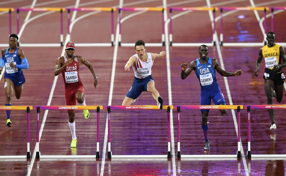 Norwegian Karsten Warholm won the world title in the 400-metre hurdles, holding off Yasmani Copello of Turkey and American Kerron Clement at the IAAF World Championships in London. AP