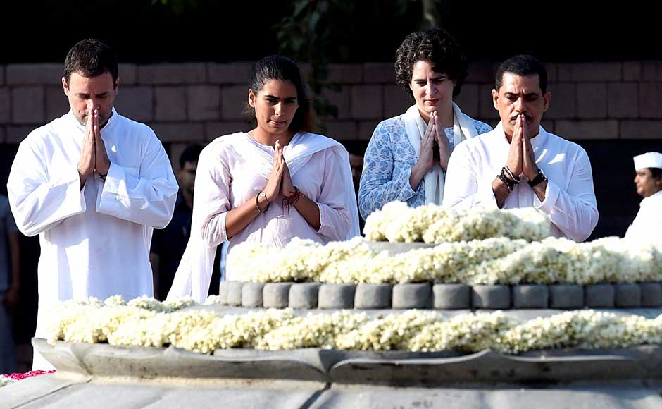 Congress vice-president Rahul Gandhi, with sister Priyanka Vadra, her husband Robert Vadra, and their daughter Miraya Vadra, pay tributes to former prime minister Rajiv Gandhi on his birth anniversary at Veer Bhumi in New Delhi on Sunday. PTI
