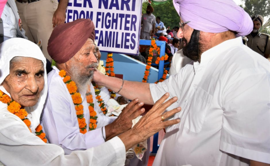 Punjab chief minister Captain Amarinder Singh interacted with the freedom fighters and their families during Independence Day celebrations in Gurdaspur on Tuesday. PTI