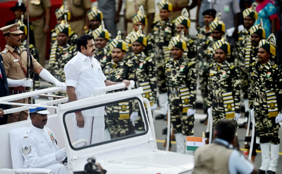 Tamil Nadu chief minister Edappadi K Palaniswamy inspected the guard of honour during the Independence Day function at Fort St George in Chennai. Addressing the people, he said his government is working towards an