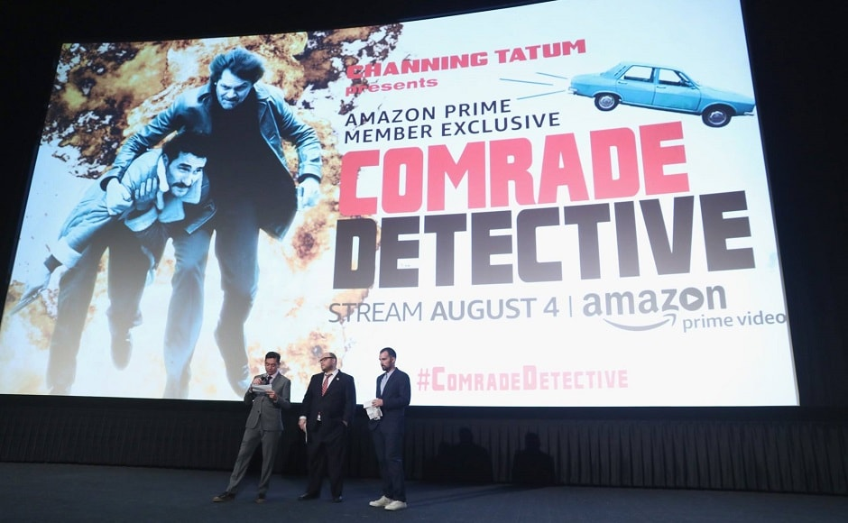Executive Producers Alessandro Tanaka and Brian Gatewood and director/executive producer Rhys Thomas speak during Amazon Prime Video premiere of original comedy series Comrade Detective in Los Angeles. Image from Facebook