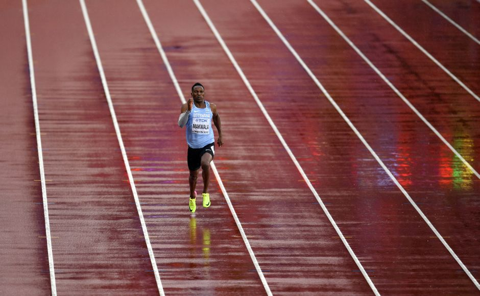 Isaac Makwala got a belated chance to compete in the 200 metres with a solo run and one opponent — England's world famous rain. He was initially barred from competing in the 200m heats because he was forced into quarantine with a stomach bug. AP