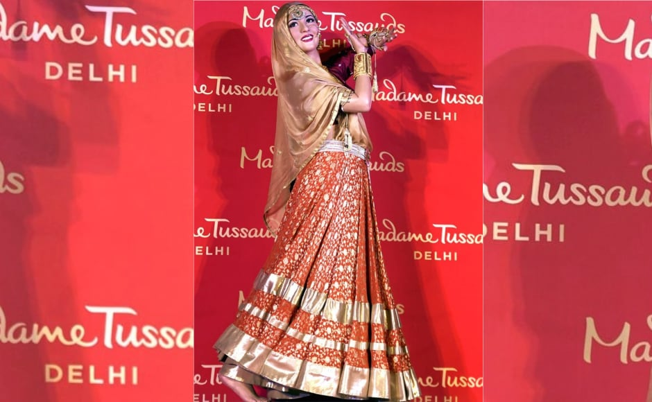 Madhubala's wax figure inspired by her legendary character Anarkali from the film Mughal-e-Azam was unveiled by Madame Tussauds, Delhi on Thursday. Image from News 18.