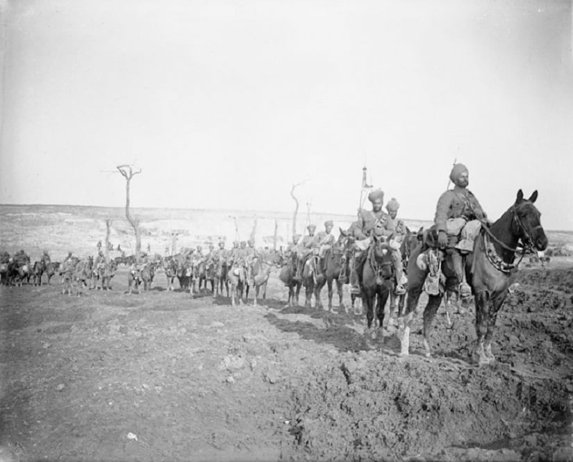 Soldiers of the Indian Expeditionary Force make their way through the Western Front, March 1917 Photo credit: Imperial War Museum
