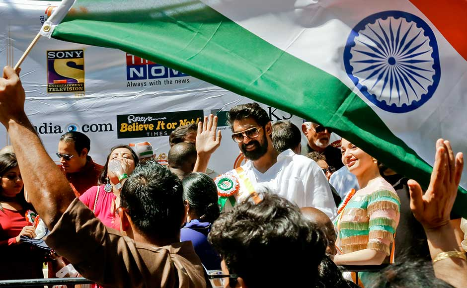 """""""Baahubali"""" pair Rana Daggubati and Tamannaah Bhatia attended the 37th India Day Parade organised by the Federation of Indian Associations in New York to celebrate India's 71st Independence Day. AP"""