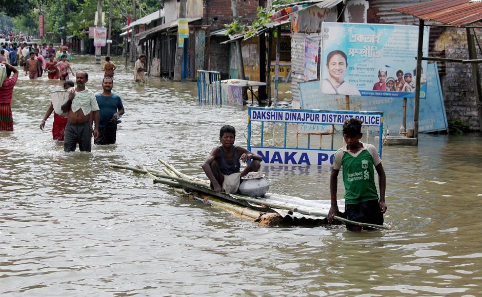 In northern parts of West Bengal, five districts have been affected by the deluge claiming seven lives and affecting over one lakh people. Expressing concern over the flood situation, chief minister Mamata Banerjee has asked the administration to monitor relief and rescue operations round-the-clock. PTI