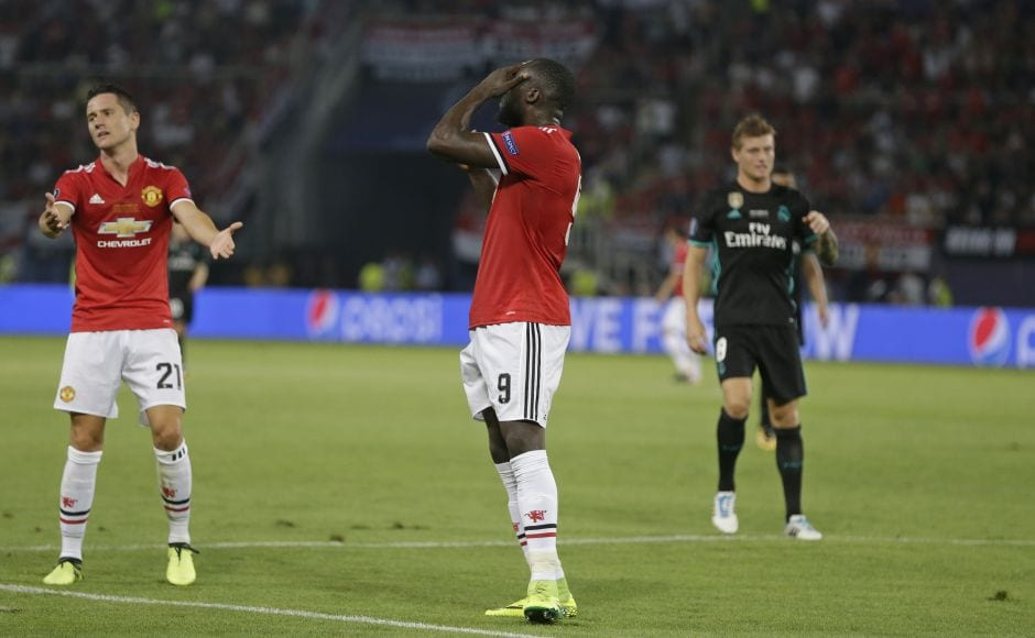 Trailing by two goals, Manchester United were not helped when Romelu Lukaku blazed high over the bar. after Keylor Navas pushed a Pogba header out into his path. AP