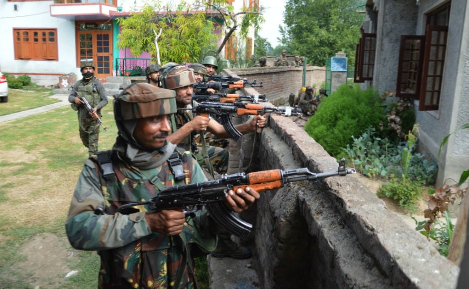 Acting on specific intelligence input about the presence of militants in Hakripora village of Pulwama, Jammu and Kashmir Police and Rashtriya Rifles launched a cordon and search operation in the area. Firstpost/Shah Hilal