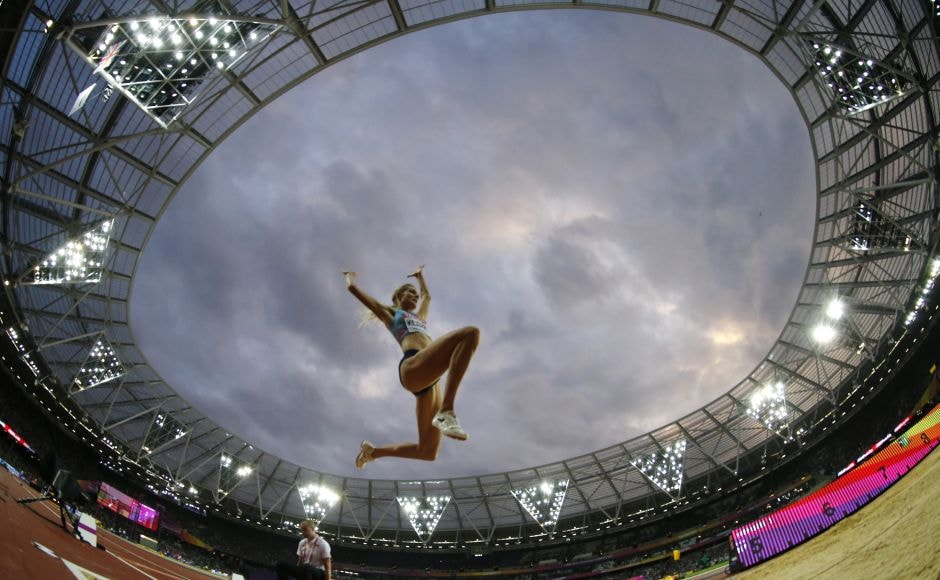 Russia's Darya Klishina, competing as a neutral athlete because of her country's doping past, took silver with a jump of 7 metres. AP