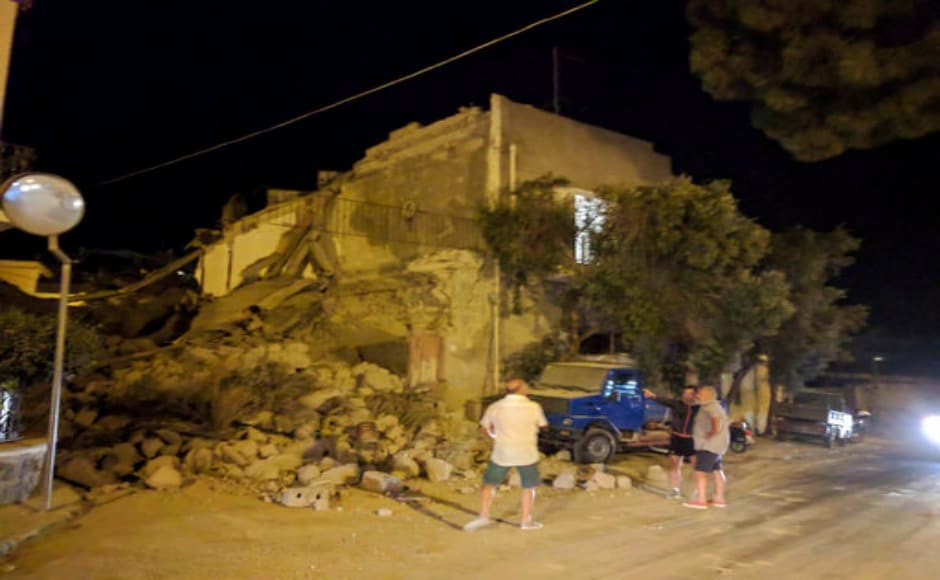 Civil protection crews that were earlier deployed to fight the forest fires ravaging southern Italy, were checking the status of the buildings that suffered damage due to the earthquake. AP