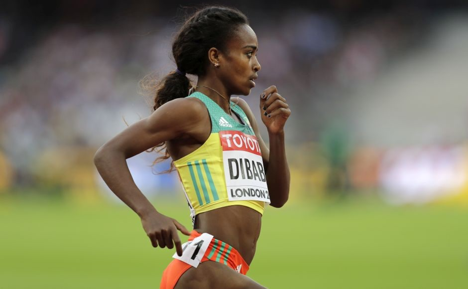 Ethiopia's Defending champion Genzebe Dibaba won her heat in the 1,500 meters to qualify for Saturday's semifinals at the world championships. AP