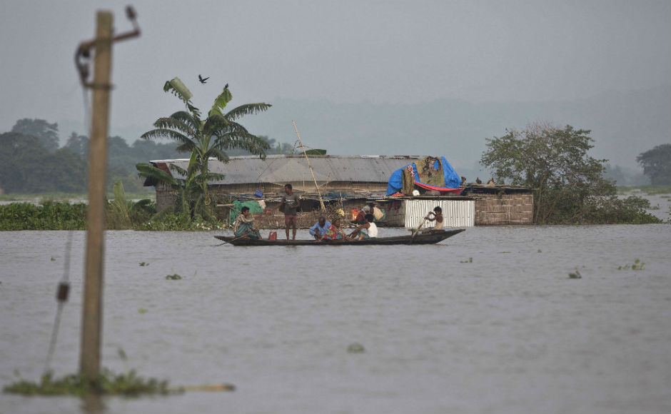 In Assam, the second wave of deluge has affected 25 of its 32 districts claiming 28 lives, besides displacing 33 lakh people. Waters of the Brahmaputra river is flowing above the danger mark at several places across the state. AP