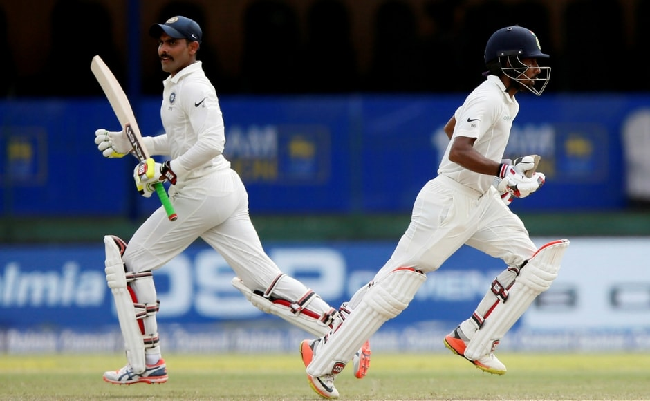 India's Wriddhiman Saha and Ravindra Jadeja forged a solid 72-run stand for the 8th wicket. The partnership helped India reach the 600-run mark. Reuters