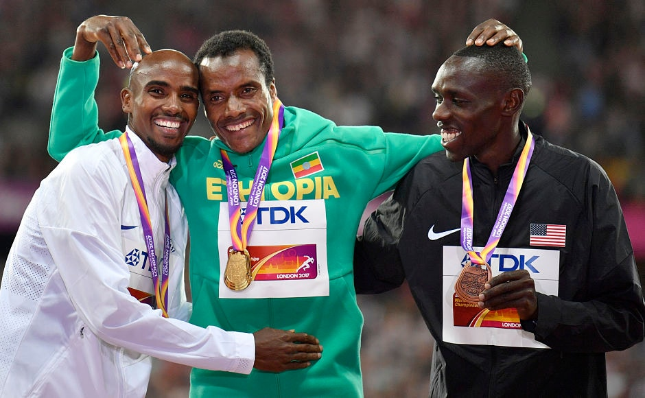 The other athlete who was pulling the curtains down on his career after the World Championship, Mo Farah(L) lost the 5,000 m event to Ethiopia's Muktar Edris, centre, while he won the silver and the bronze was won by United States' Paul Kipkemoi Chelimo(R). AP