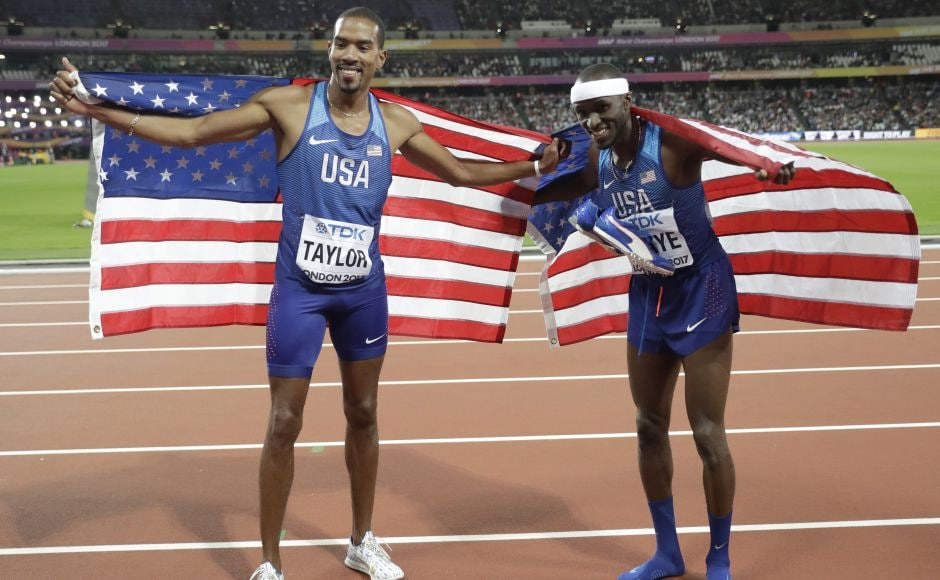 Christian Taylor won his third world title with a leap of 17.68 metres, 5 centimetres more than Will Claye. Claye was the runner-up to Taylor in the last two Olympics. AP